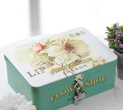 GaGadot Niedliche dekorative Box Mittlere rechteckige kreative abschließbar Weißblech Lagerung Geschenkbox (Blume)