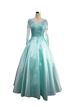 Amazon.com: Mollybridal V Neck A Line Lace Quinceanera Prom Dresses with Illusion Long Sleeves Sequin Corset 2018: Clothing