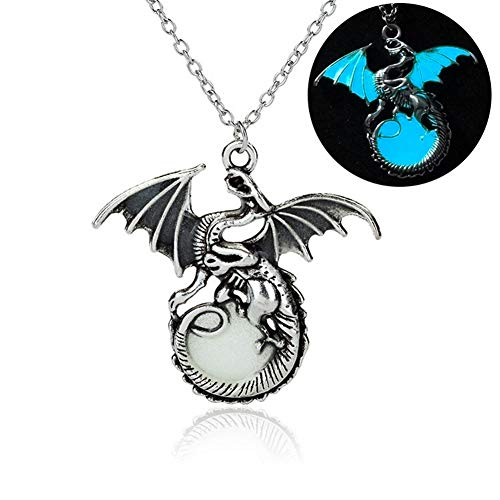 Glowing Retro Dragon Necklace - Alloy Construction - Dragon Design - Creative Fluorescent Pendant Necklace is The Perfect Jewelry for Casual and Dressy Attire
