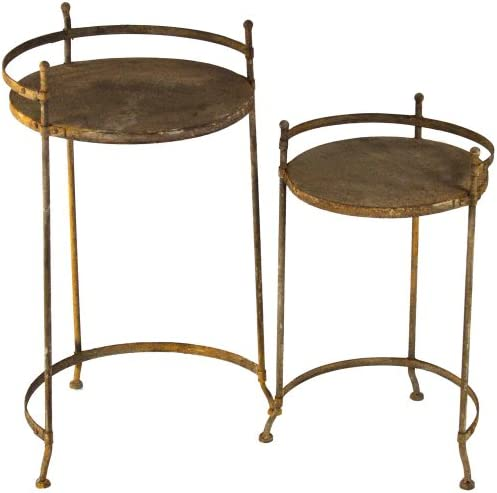 ZENTIQUE Rustic Metal Nesting Table, Set of 2