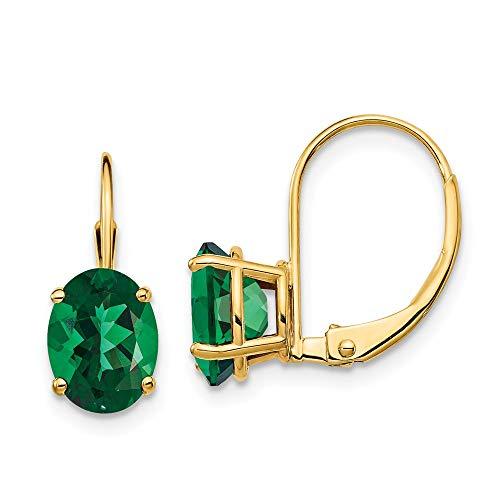- 14K Yellow Gold 8x6mm Oval Mount St. Helens Leverback Earrings 7 mm 17 mm Drop & Dangle Earrings Jewelry
