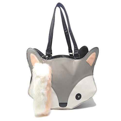 Grey Fox Face Faux Leather Handbag, Weekender Animal Purse W/ Faux Fur Fox (Animal Purse)