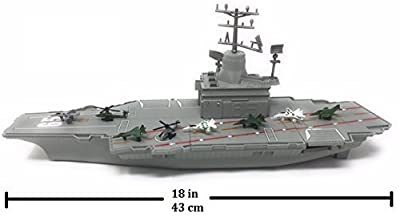 "QVM Toy Aircraft Carrier Playset - 6 fighter jets and 2 choppers - Aircraft Carrier has Lights and Realistic Sounds (""red alert"", missiles launching, & Ship Horn)- batteries included"