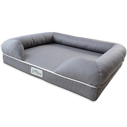 "PetFusion Small Pet Bed w/Solid 2.5"" Memory Foam, Waterproof Liner, YKK Premium Zippers. [Gray, Ultimate Lounge 25x20x5.5; Dog beds Furniture Also for Cats]"