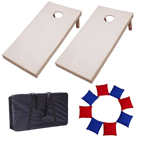 Victoria Young Solid Wood Supreme Quality Cornhole Bean Bag Toss Game Set with 8 Bean Bags (4ft x -