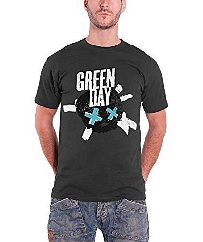 Offizielles Green Day-Skull-Crossed T-Shirt anthrazit, (Größe M)
