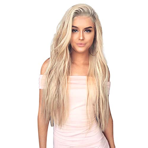 Blonde Long Wavy Wigs | Womens Girls Synthetic Curly Full Hair Wig | Ladies High Temperature Silk Daily Party Hairpiece (Gold)]()