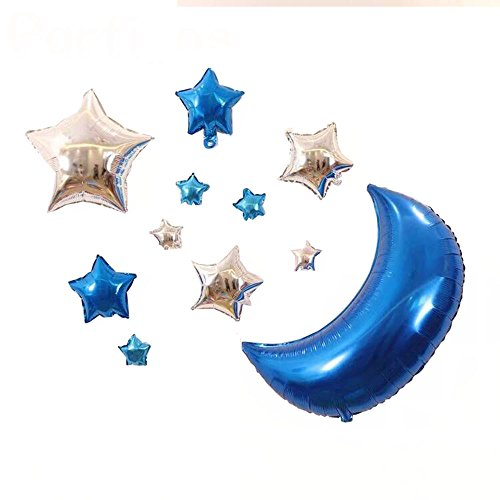 AnnoDeel 11 pcs Star Mylar Balloons, 30inch Big Blue Moon Balloons and Silver Star Foil Balloons for Baby Party Birthday Decorations