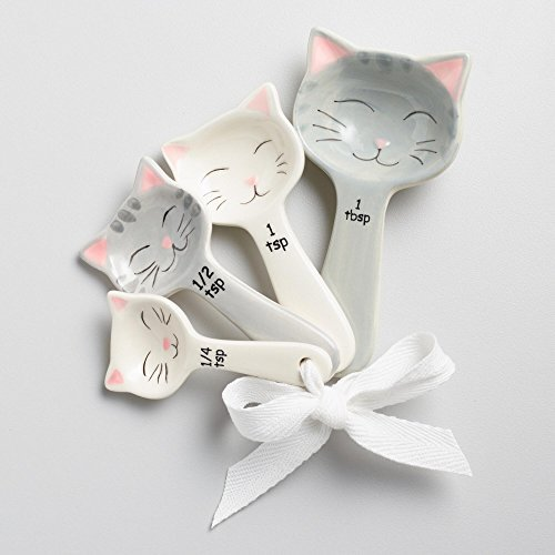 Cat Shaped Ceramic Measuring Spoons - White and Gray by WM