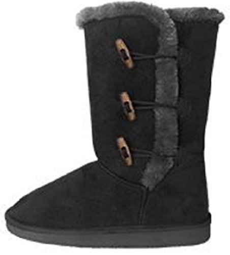 "Womens 12"" Tall Mid Calf Boots 3 Button Faux Sheepskin Fur S"