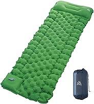 AKASO Camping Sleeping Pad Built-in Foot Pump Inflatable Sleeping Mat with Pillow Compact Ultralight Waterproo