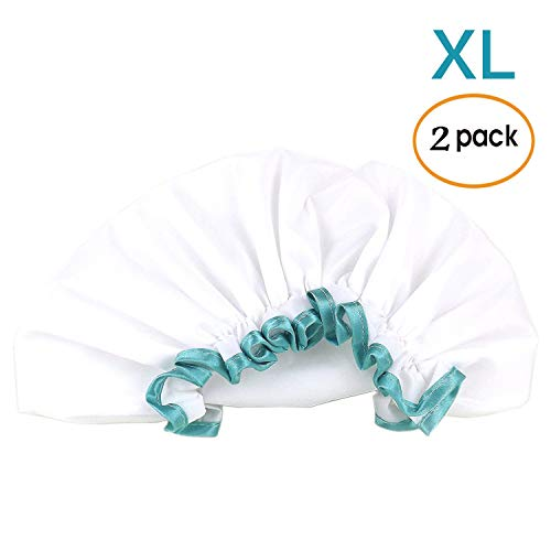 White Shower Cap for Long Hair 2 Pack, Waterproof Mold Resistant Washable Hair Caps for Women and Girls, Super Cute and Extra Large by mikimini