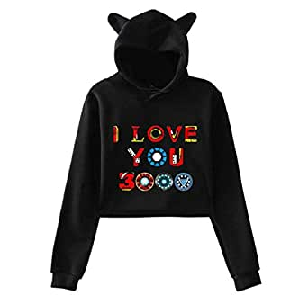 New style The Avengers I Love You 3000 times printing cat ears Women girl Hip Hop hoodie Long Sleeve pullover hoodie crop top sexy top (Black, L)