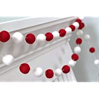 Red & White Felt Ball Pom Pom Garland- Christmas, Valentine's Day
