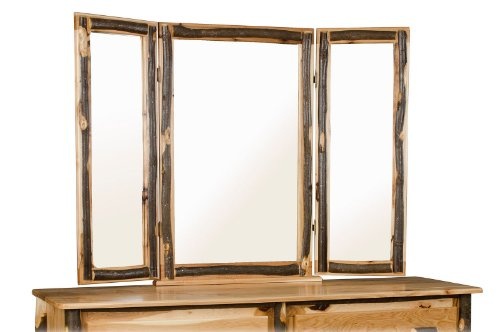 Furniture Barn USA Rustic Hickory Tri-View Mirror Frame- ALL HICKORY - Amish Made