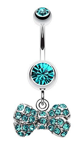 Dainty Bow-Tie Belly Button Ring - 14 GA (1.6mm) - Teal - Sold - Ga 622