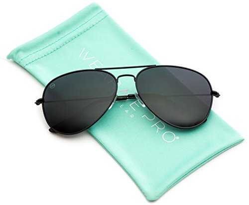 WearMe Pro - Polarized Metal Frame Pilot Style Aviator Sunglasses (Spring Hinge: Full Black, - For Pilot Women Sunglasses