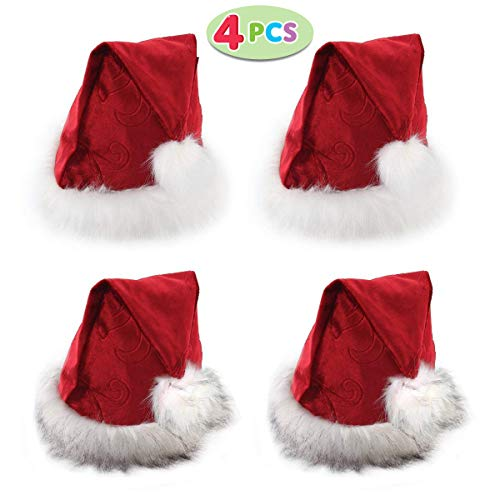 h Plush Trim, Confortable Velvet Red Christmas Hat for Christmas Party Favors 2 Styles (Set of 4) by Joyin Toy ()