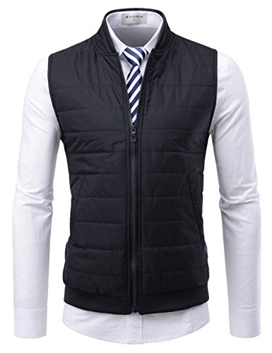 NEARKIN (NKNKPVE2) Mens Daily light warmer Dandy Business Look Zip-up Slim fit Waistcoat BLACK US L(Tag size XL) by NEARKIN