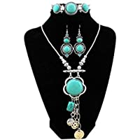 XY Fancy Retro Craft Vintage Look Antique Silver Plated Snail Pendant Necklace Bracelet Earrings Real Turquoise Jewelry Sets