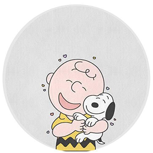 Round Rug- Charlie Brown & Snoopy Art Deco Modern Flannel Microfiber Non-Slip Round Area Rug Living Room Study Floor Mat