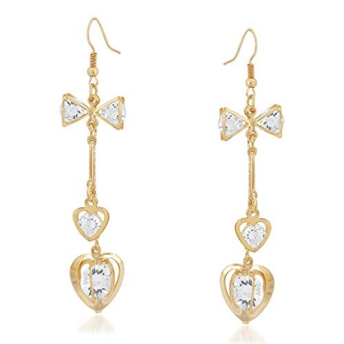 VK Jewels Cubic Zirconia Drop Earrings for Women  Golden   vkerz1669g