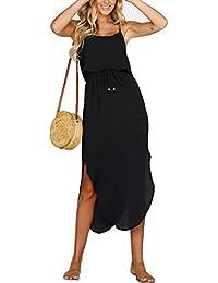 Women's Adjustable Strappy Split Summer Beach Casual Midi Dress