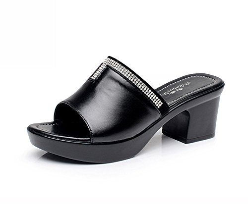 Sandles Navoku High Heel Leather Black Women's Sandals Fashion nnfw8WpqB