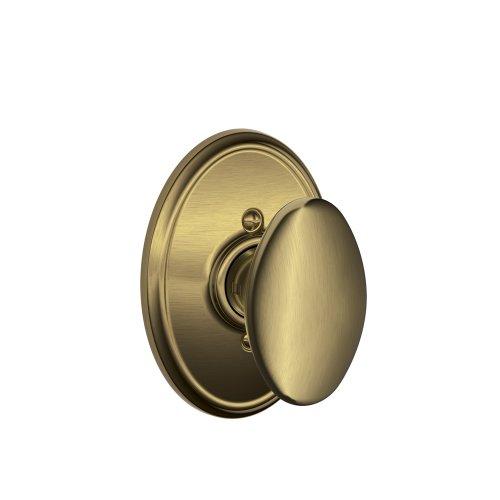 Siena Knob with Wakefield Trim Non-Turning Lock, Antique Brass (F170 SIE 609 WKF)
