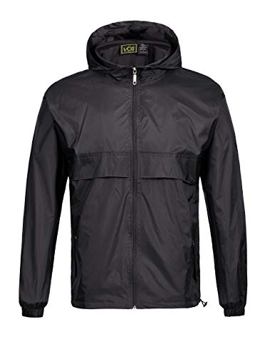 SWISSWELL Men's Lightweight Rain Jacket Waterproof Hooded Rainwear Black,XXXL]()