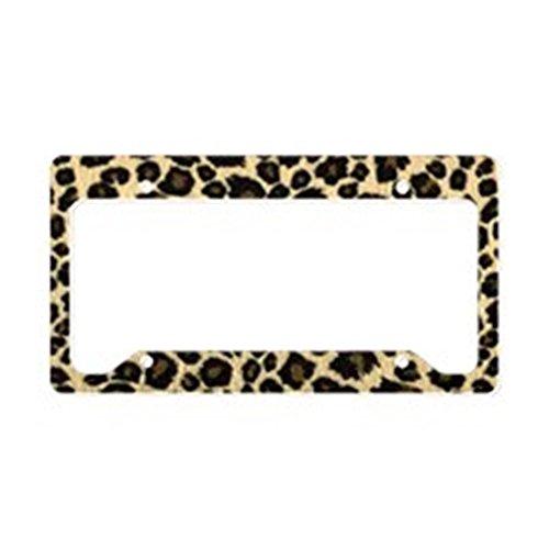 CafePress - Leopard Print License Plate Holder - Aluminum License Plate Frame, License Tag Holder (Cheetah Print License Plate)