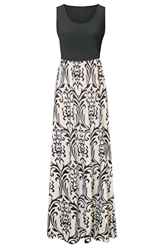Zattcas Womens Summer Contrast Sleeveless Tank Top Floral Print Maxi Dress – Small, Black Taupe