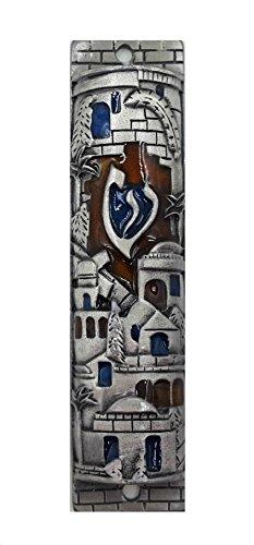 Silver Enamel Jewish MEZUZAH CASE with Scroll Jerusalem Israel Judaica Door Mezuza 4