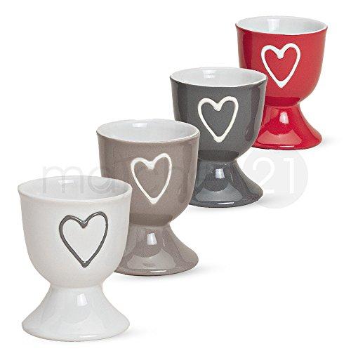 Bunte Eierbecher im 4er Set mit Herzdekor in grau rot weiß beige aus Keramik je 6x5 cm