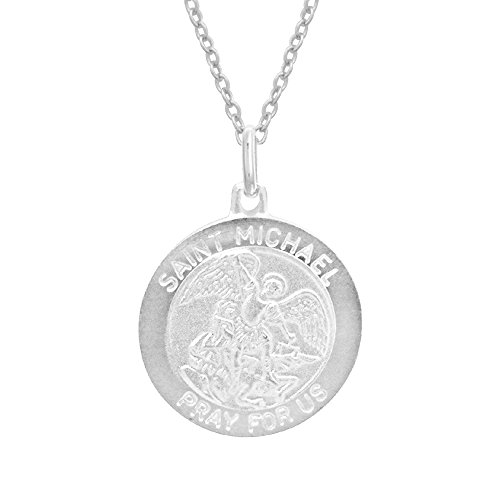 Ritastephens Children's Sterling Silver Saint St Michael Medal 12 mm Round Baby Pendant 16 Inches Necklace