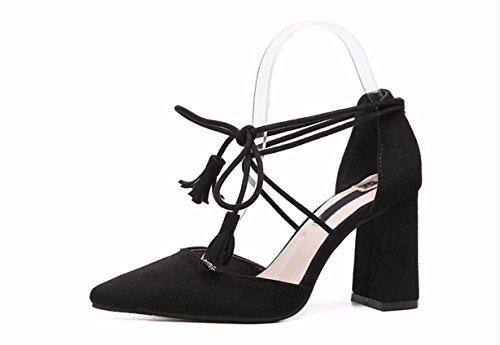 GTVERNH Zapatos de Mujer/Verano/Verano Roma Durmientes Puntiagudas Baotou Sandalias De Mujeres de 8 Cm De Tacon Alto Rough Heels Noches Salvajes Tarde Noche Zapatos. black