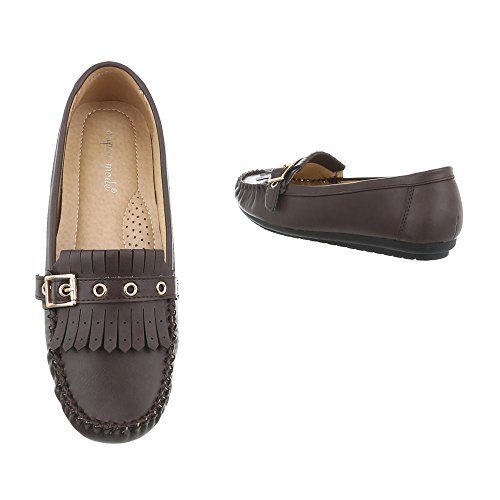 Ital-Design Women's Loafer Flats Flat Moccasins at Dark Brown 4926 tDxIZUd