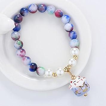 Chino Nacional viento LY LY gato fresco Natural piedra pulseras elásticas pulsera mujeres moda niñas palomitas pulsera de cristal: Amazon.es: Hogar