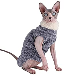 Kitipcoo Sphynx Cat Clothes Winter Warm Faux Fur Sweater Outfit, Fashion high Collar Coat for Cats Pajamas for Cats and Small Dogs Apparel, Hairless cat Shirts Sweaters