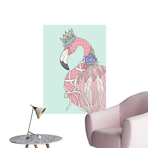 Flamingo Decals for Home Room Decoration Cute Flamingo Flower Crown Ribbon Fairytale Children Kids Artwork Men's Room Wall Baby Blue Pale Pink White W24 x H36 ()