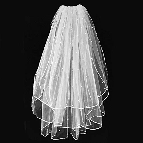 Wedding Veil,White Bridal Veil with Comb, 3 Tier Ribbon Edge with Pearl Center Cascade for Bachelorette Party