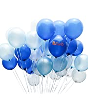 PuTwo Blue and White Balloons 100 pcs 12 inch Turquoise Balloons Teal Balloons White Balloons Party Balloons for Boys Baby Shower, Boy Christening, Boys Birthday, Teal Wedding, Baby Shower Teal