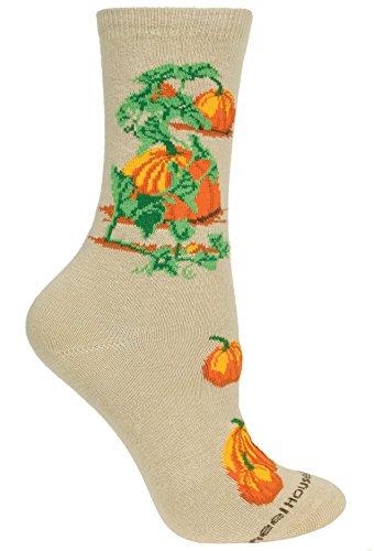 Pumpkins Tan Cotton Ladies Socks (Pumpkin Socks)