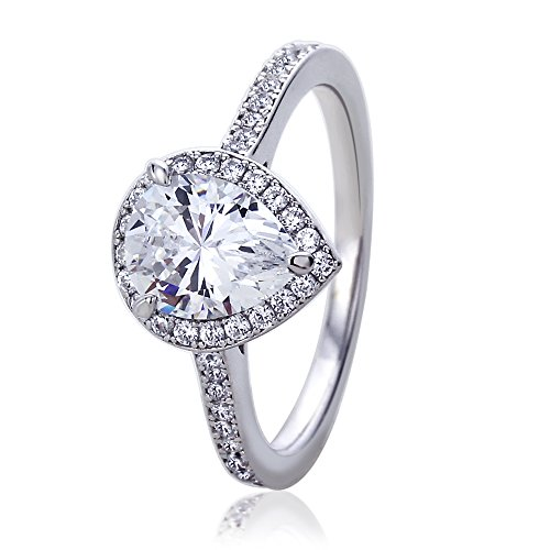 Infinite Sterling Silver Rhodium Plated 1.75 Carat Pear Cut CZ Halo Solitaire Engagement Ring, -