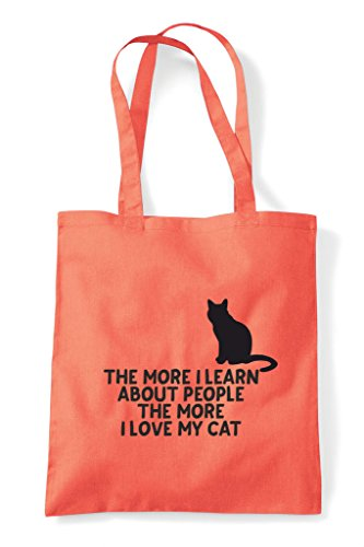 More Bag Person Shopper My Cat Coral The People Pets Lover Animal Funny About Learn Love Tote I HqS6d