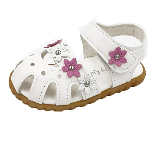 kingko® Bequeme Kind Art und Weise Beiläufige Sommer flache Blüten weiche untere Mädchen Sandelholz Schuhe Weiß