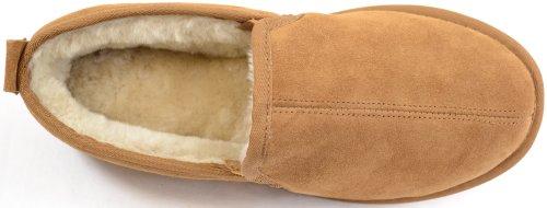 Mens Weight Suede Light with Chestnut Slipper Sole Luxury Sheepskin rnqr4
