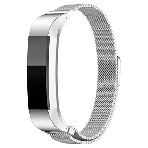 Ocamo Magnetic Watch Band Strap Stainless Steel Replacement Band Strap for Fitbit Alta/Alta HR Silver