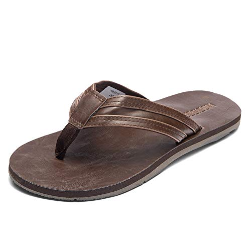 GUBARUN Mens Flip Flop Sandals Thong Indoor and Outdoor Beach Slippers(Brown 9) (Leather Brown Sandals)