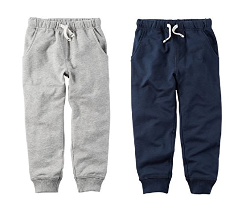 Carters Toddler Boys 2 Pack French Terry Active Jogger Pants (5t), Gray and Blue ()